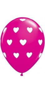 Lot de 6 ballons saint-valentin cœur rose et blanc