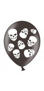 Lot de 6 ballons Tête de mort en latex Halloween 28 cm