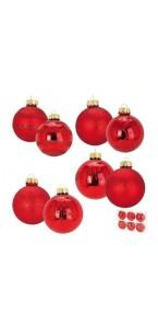 Lot de 6 boules en verre rouge 4 modèles assortis