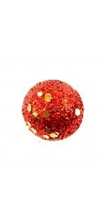 Lot de 6 Boules rouge pailleté sur tige D 3 cm