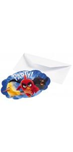 Lot de 6 cartes d'invitation Angry Birds avec enveloppe
