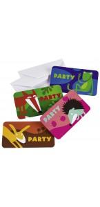 Lot de 6 cartes invitation Animaux avec enveloppe modèles assortis