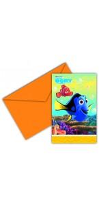 Lot de 6 cartes invitation Dory avec enveloppes