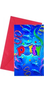 Lot de 6 cartes invitation Party Streamers avec enveloppe