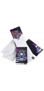 Lot de 6 cartes invitation Police avec enveloppe