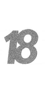 Lot de 6 confettis 18 ans argent 6 x 5 cm