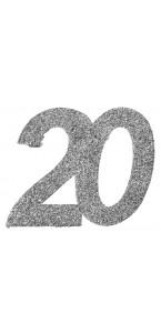 Lot de 6 confettis 20 ans argent 6 x 5 cm