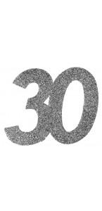 Lot de 6 confettis 30 ans argent 6 x 5 cm