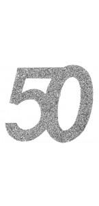 Lot de 6 confettis 50 ans argent 6 x 5 cm