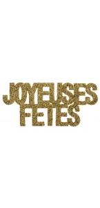 Lot de 6 Confettis de table Joyeuses fêtes or pailleté