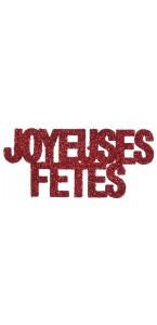 Lot de 6 Confettis de table Joyeuses fêtes rouge pailleté