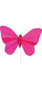 Lot de 6 papillons fuschia sur tige 8,5 x 5 cm