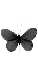Lot de 6 papillons noirs sur tige 8,5x 5 cm