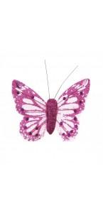 Lot de 6 Papillons pailletés fuschia longueur 8 cm