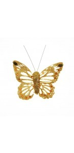Lot de 6 Papillons pailletés or longueur 8 cm