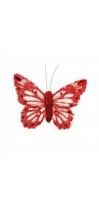 Lot de 6 Papillons pailletés rouges longueur 8 cm