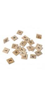 Lot de 60 lettres Alphabet bois façon Scrabble 2 x 2 cm