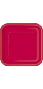 Lot de 8 assiettes à dessert jetables carrées rouge 16,5 cm