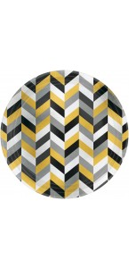 Lot de 8 assiettes Chevron jaune 22,8 cm