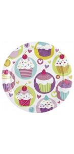 Lot de 8 assiettes cupcake  D 23 cm