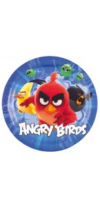 Lot de 8 assiettes jetables Angry birds en carton D 23 cm