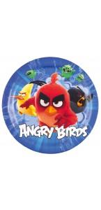 Lot de 8 assiettes jetables Angry birds en carton D 23 cm