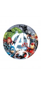 Lot de 8 assiettes jetables Avengers en carton 23 cm