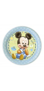 Lot de 8 assiettes jetables Baby Mickey en carton 23 cm