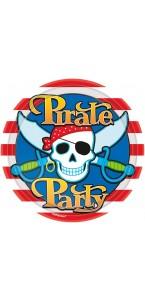 Lot de 8 assiettes jetables en carton Pirate Party 23 cm