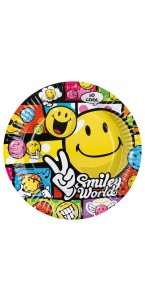 Lot de 8 assiettes jetables Smiley Comic en carton D 23 cm