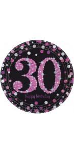 Lot de 8 assiettes jetables Sparkling celebration rose en carton 30 ans D 23 cm