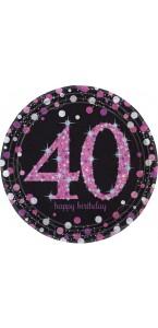Lot de 8 assiettes jetables Sparkling celebration rose en carton 40 ans D 23 cm