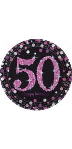 Lot de 8 assiettes jetables Sparkling celebration rose en carton 50 ans D 23 cm