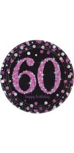 Lot de 8 assiettes jetables Sparkling celebration rose en carton 60 ans D 23 cm