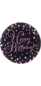 Lot de 8 assiettes jetables Sparkling celebration rose en carton D 23 cm