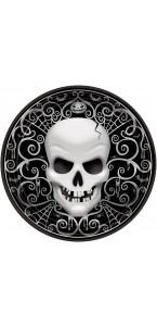 Lot de 8 assiettes Tête de mort Halloween en carton D 23 cm