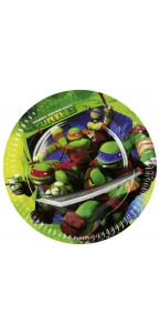 Lot de 8 assiettes Tortue ninja D 23 cm