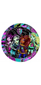 Lot de 8 assietttes jetables en carton Monster High 23 cm