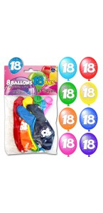 Lot de 8 ballons de baudruche en latex 18 ans muliticolores