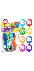 Lot de 8 ballons de baudruche en latex 60 ans muliticolores