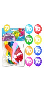 Lot de 8 ballons de baudruche en latex 70 ans muliticolores