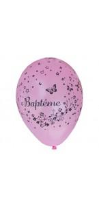 Lot de 8 ballons de baudruche en latex roses Baptême D 30 cm
