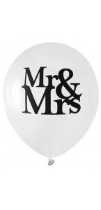 Lot de 8 ballons latex opaque Mr & Mrs blancs