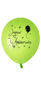 Lot de 8 ballons verts Joyeux Anniversaire