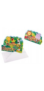 Lot de 8 cartes d'invitation Jungle avec enveloppe