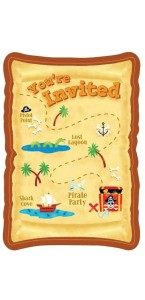 Lot de 8 cartes invitation Pirate Party avec enveloppe