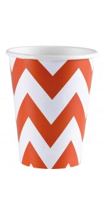 Lot de 8 gobelets Chevron orange 26, 6 cl