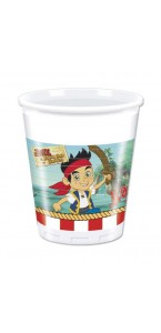Lot de 8 gobelets Jake le pirate en plastique  20 cl