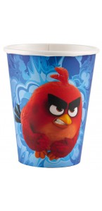Lot de 8 gobelets jetables Angry birds en carton 26,6 cl