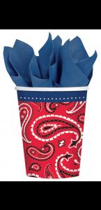 Lot de 8 gobelets jetables Bandana & Blue jeans en carton